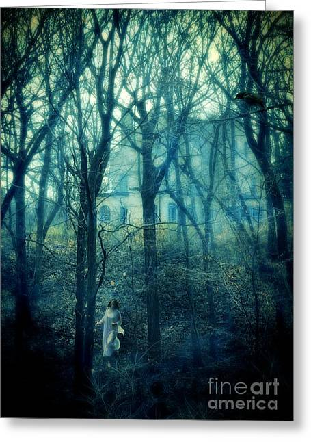 Hiding Greeting Cards - Woman in Nightgown Fleeing from Mansion Greeting Card by Jill Battaglia