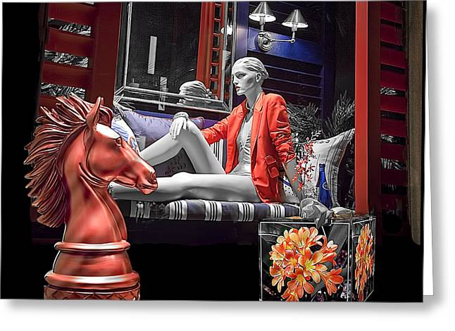 Chess Piece Greeting Cards - Woman in Orange - B W Greeting Card by Chuck Staley