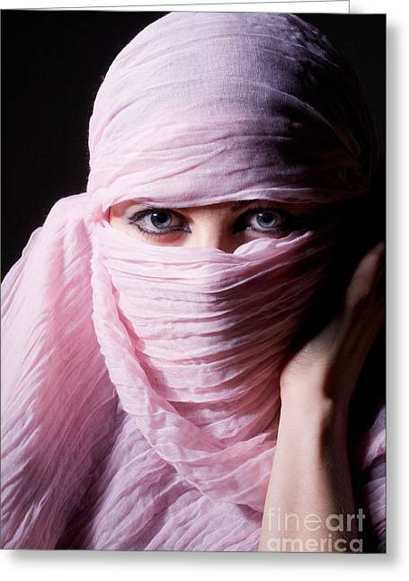 Religious Dress Greeting Cards - Woman In Pink Hijab Greeting Card by Aleksey Tugolukov