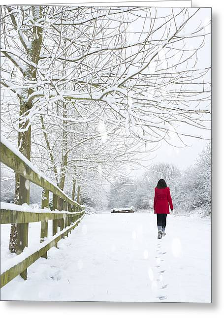 Winter Photos Greeting Cards - Woman In Red Coat Greeting Card by Amanda And Christopher Elwell