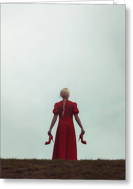 Blonde Girl Photographs Greeting Cards - Woman In Red Greeting Card by Joana Kruse