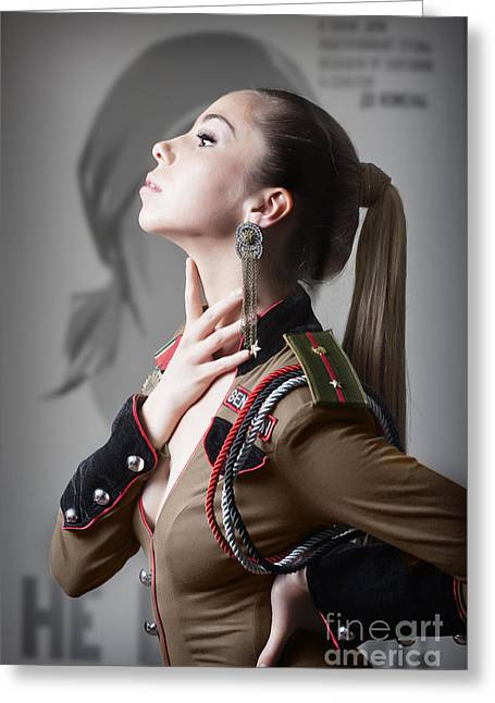 Roleplaying Greeting Cards - Woman In Russian Fetish Uniform Caressing Her Throat With Her Hand Greeting Card by Joe Fox