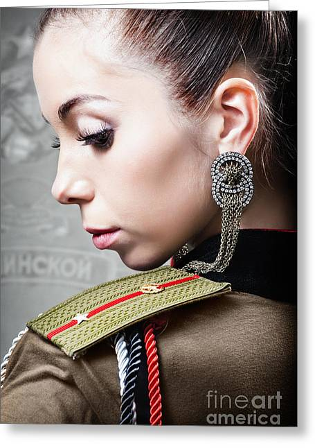 Roleplaying Greeting Cards - Woman In Russian Fetish Uniform Looking Over Her Shoulder Greeting Card by Joe Fox