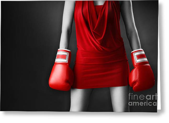 Kickboxers Greeting Cards - Woman in sexy red dress wearing boxing gloves Greeting Card by Oleksiy Maksymenko