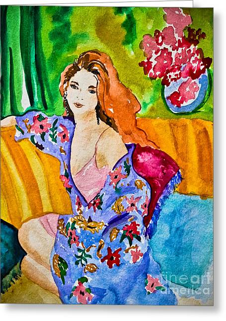 Lounge Paintings Greeting Cards - Woman in Silk Kimono Greeting Card by Colleen Kammerer