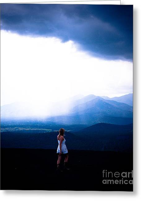 Stormy Weather Greeting Cards - Woman in storm Greeting Card by Scott Sawyer