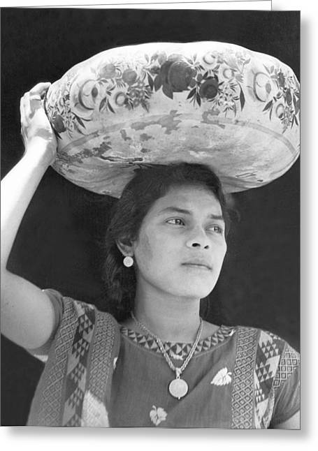 Basket Head Greeting Cards - Woman In Tehuantepec, Mexico, 1929 Greeting Card by Tina Modotti