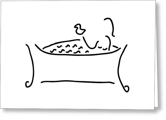 Woman In The Bath With Duck Greeting Card by Lineamentum