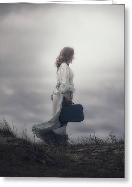 Pensive Photographs Greeting Cards - Woman In The Dunes Greeting Card by Joana Kruse