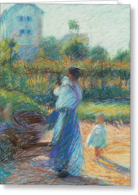 Apron Pastels Greeting Cards - Woman in the Garden Greeting Card by Umberto Boccioni