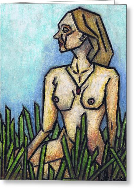 Surreal Landscape Pastels Greeting Cards - Woman in The Meadow Greeting Card by Kamil Swiatek