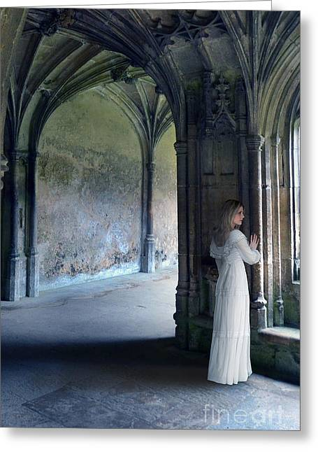 Historical Costume Greeting Cards - Woman in the Old Abbey Greeting Card by Jill Battaglia