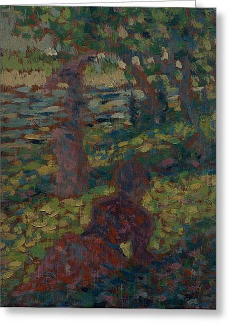 Seurat Greeting Cards - Woman in the Park Greeting Card by Georges Seurat