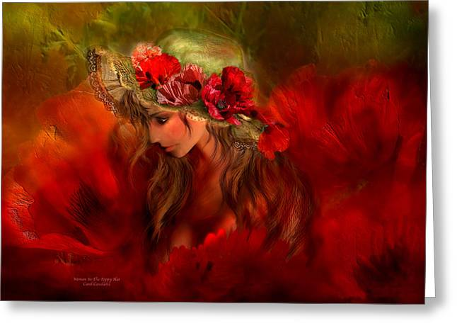 Hat Art Greeting Cards - Woman In The Poppy Hat Greeting Card by Carol Cavalaris