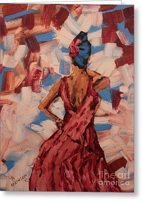 Ball Gown Paintings Greeting Cards - Woman in the Red Gown Greeting Card by Lee Ann Newsom