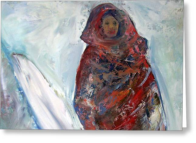 Woman In The Snow Greeting Card by Patricia Taylor