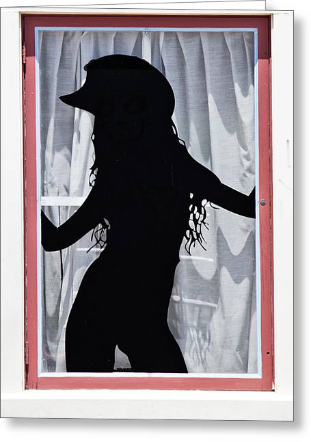 Store Fronts Greeting Cards - Woman In The Window Greeting Card by Tom Gari Gallery-Three-Photography