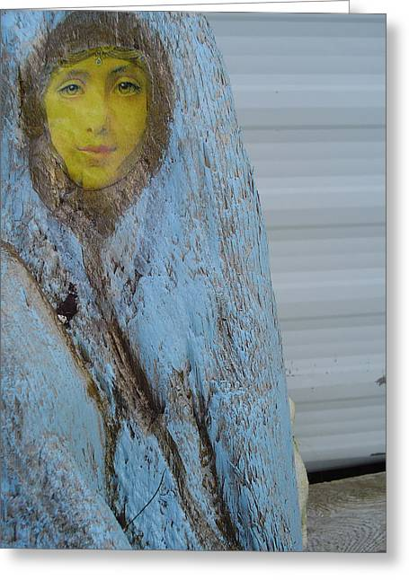 Virgin Mary Greeting Cards - Woman In The Wood Greeting Card by Teresa Martyny