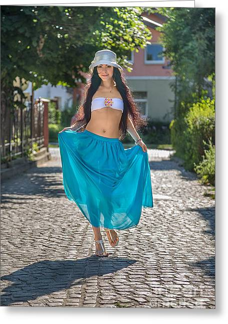 Full Skirt Greeting Cards - Woman In Transparent Skirt Greeting Card by Aleksey Tugolukov