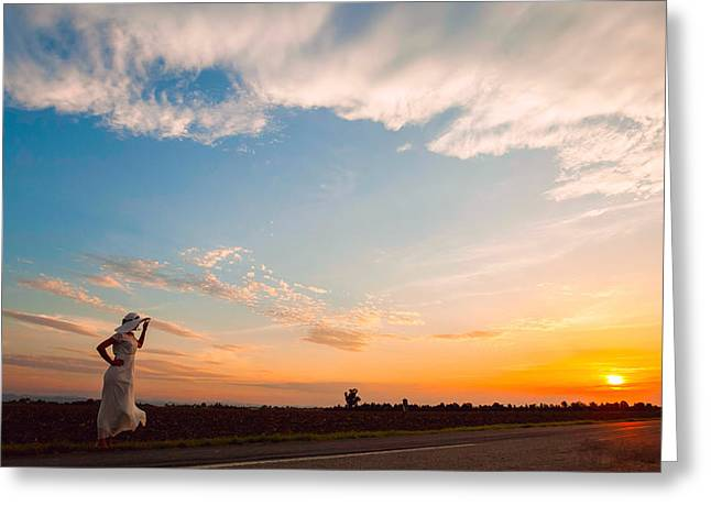 Lonly Greeting Cards - Woman in white dress Greeting Card by Cristian Mihaila