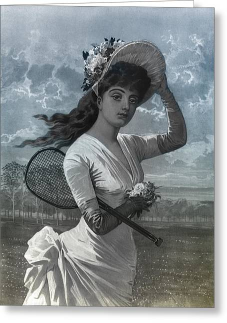 Women Tennis Greeting Cards - Woman in White Dress Holding Flowers and Tennis Racket Greeting Card by Digital Reproductions