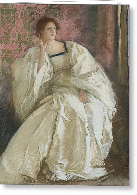 Edwin Greeting Cards - Woman in White Greeting Card by Edwin Austin Abbey