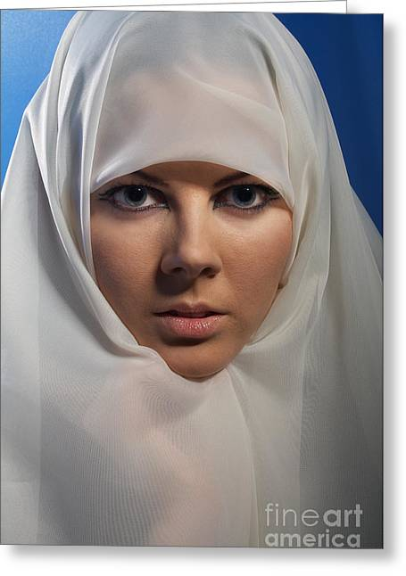 Religious Dress Greeting Cards - Woman In White Hijab Greeting Card by Aleksey Tugolukov
