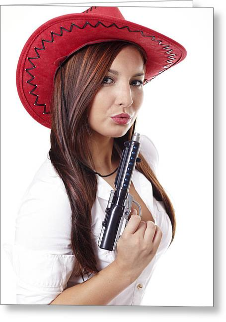 Carefree Cowboy Greeting Cards - Woman in white shirt and guns Greeting Card by Radka Linkova