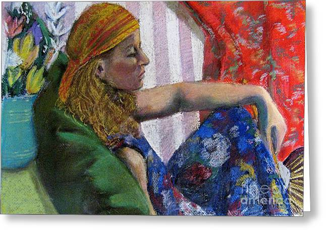 Interior Still Life Pastels Greeting Cards - Woman in Yellow Scarf Greeting Card by Cecily Mitchell
