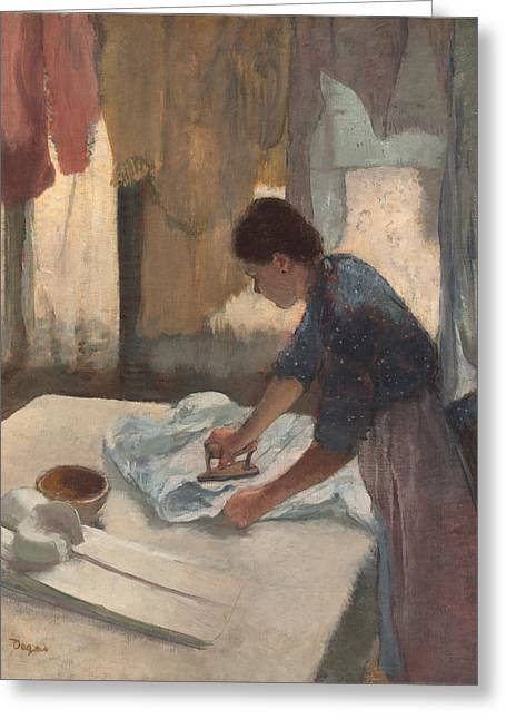 Old Masters Greeting Cards - Woman Ironing Greeting Card by Nomad Art And  Design