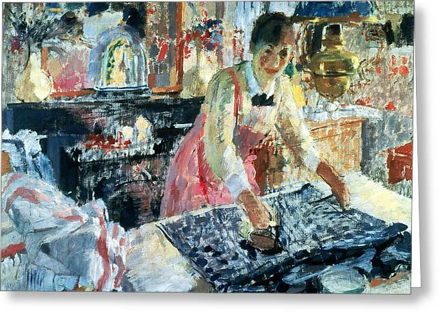 Doing Laundry Greeting Cards - Woman Ironing Greeting Card by Rik Wouters