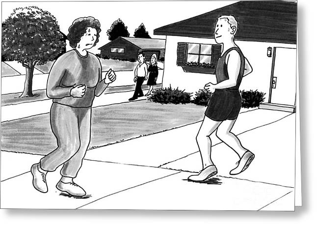 Sweat Drawings Greeting Cards - Woman Jogging Greeting Card by Lee Serenethos