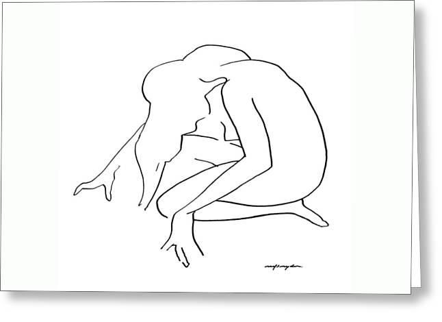 Sketchbook Greeting Cards - Woman Kneeling Greeting Card by J Reifsnyder