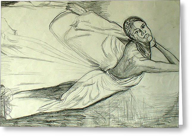 Ballet Dancers Drawings Greeting Cards - Woman dancer Greeting Card by Darlene Ricks- Parker