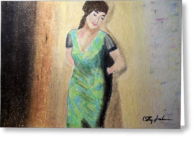 Leaning Pastels Greeting Cards - Woman leaning against wall  Greeting Card by Cathy Jourdan