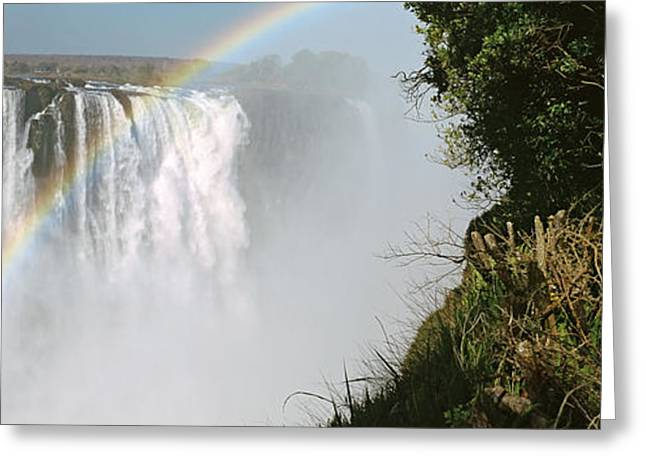 Zimbabwe Photographs Greeting Cards - Woman Looking At A Rainbow Greeting Card by Panoramic Images