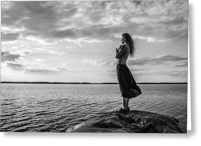 Twiggy Photographs Greeting Cards - Woman looks at the horizon Greeting Card by Jari Hindstroem