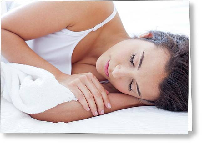 Woman Lying In Bed Asleep Greeting Card by Ian Hooton