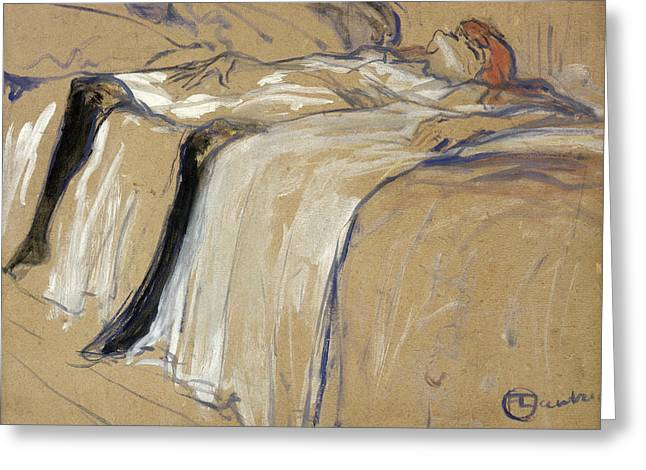 Dazed Greeting Cards - Woman lying on her Back Greeting Card by Henri de Toulouse Lautrec