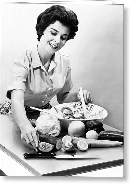 Stainless Steel Greeting Cards - Woman Making A Salad Greeting Card by Underwood Archives