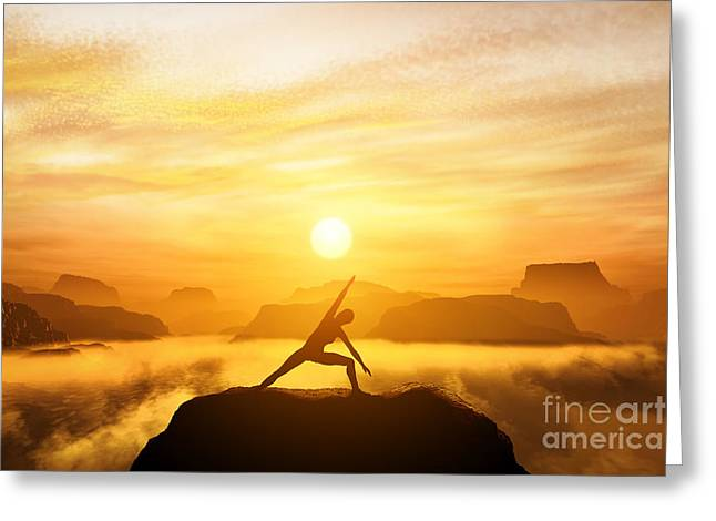 Mind Energy Greeting Cards - Woman meditating in tree yoga position  Greeting Card by Michal Bednarek