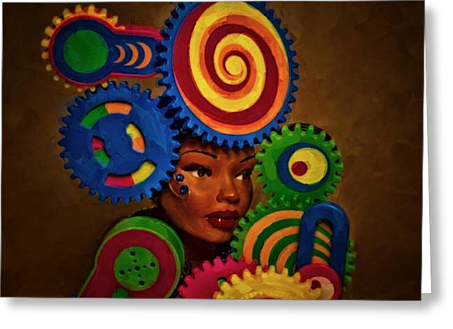 Abstractions Greeting Cards - Woman Of Colors  Greeting Card by Jeff  Gettis