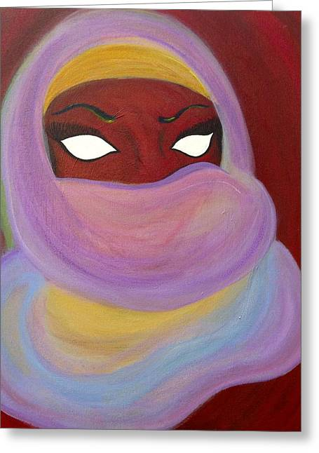 Covered Head Paintings Greeting Cards - Woman of Mystery Greeting Card by Joanna Benadrete