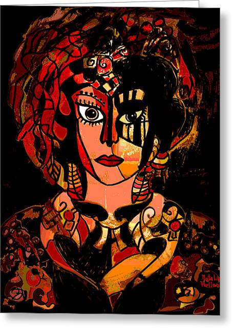 Bold Necklace Greeting Cards - Woman Of Mystery Greeting Card by Natalie Holland