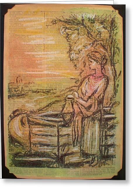 Gouache Mixed Media Greeting Cards - Woman of Samaria Greeting Card by Kitt Mallin