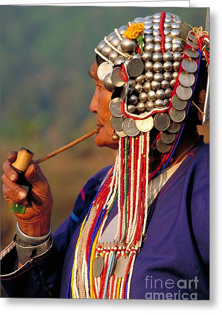 Smoker Greeting Cards - Akha Hill Tribe Woman  Thailand Greeting Card by Art Wolfe
