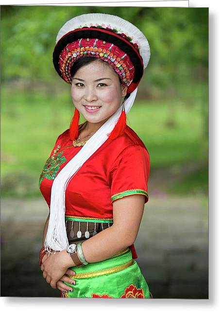 Woman Of The Bai Ethnic Minority In China Greeting Card by Tony Camacho