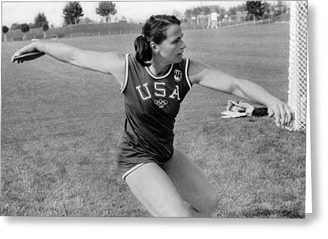 Woman Olympic Discus Toss Greeting Card by Underwood Archives