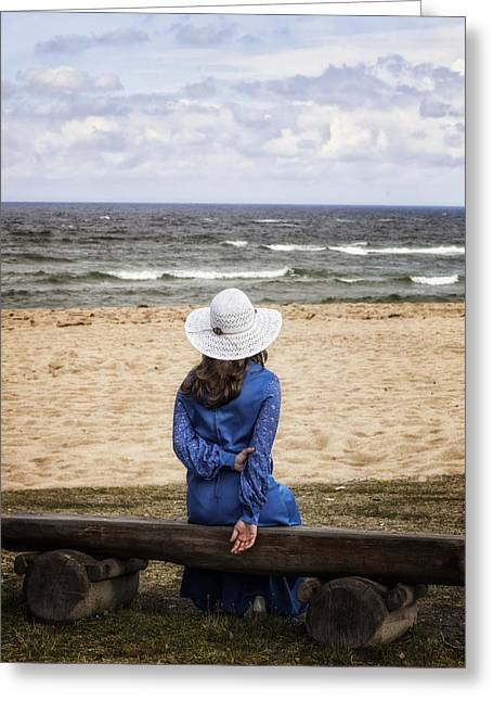 From Behind Greeting Cards - Woman On A Bench Greeting Card by Joana Kruse