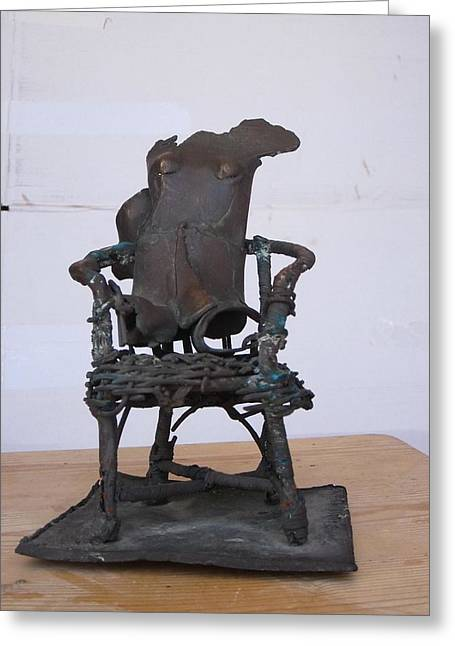 Chairs Sculptures Greeting Cards - Woman on a chair Greeting Card by Wilfried  Senoner